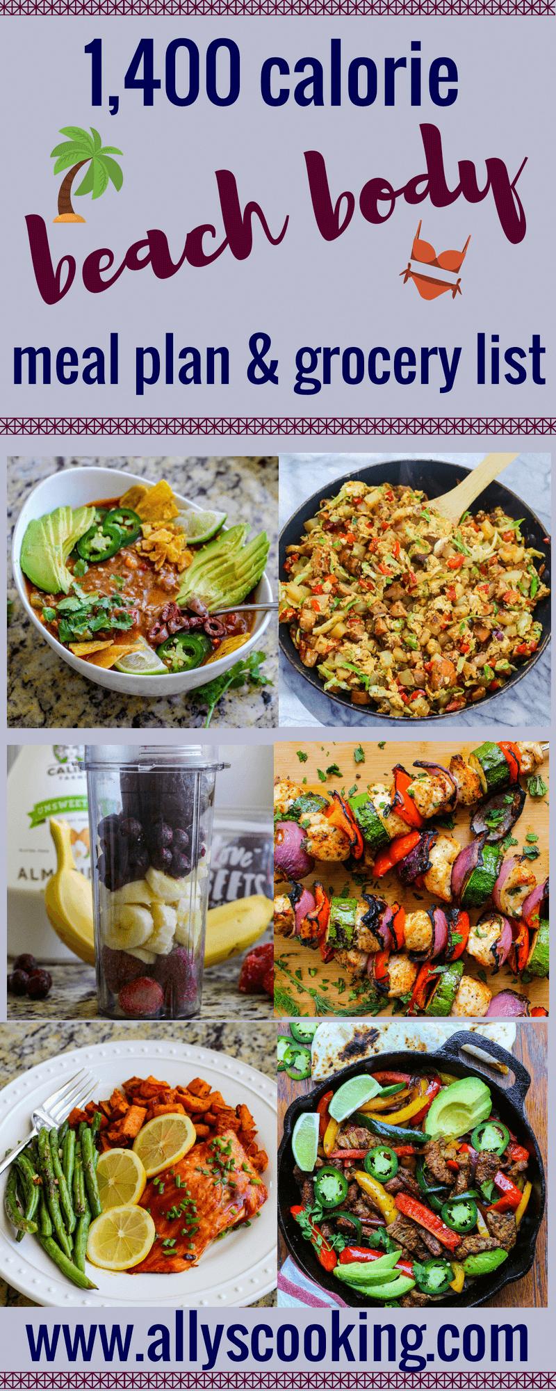 1400 Calorie Beach Body Meal Plan  Grocery List