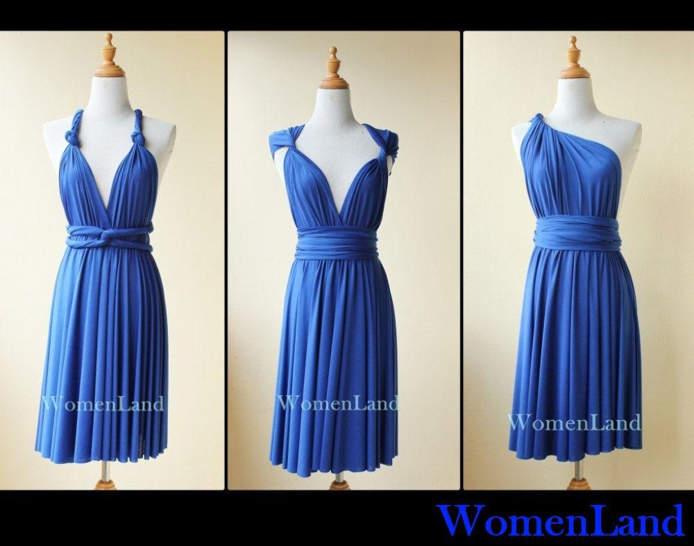 Royal Blue Knee Length Infinity Dress Convertible Woman Evening Wedding Bridesmaid Tailor Made Plus Size Women Short Dresses 68 00 Via Etsy
