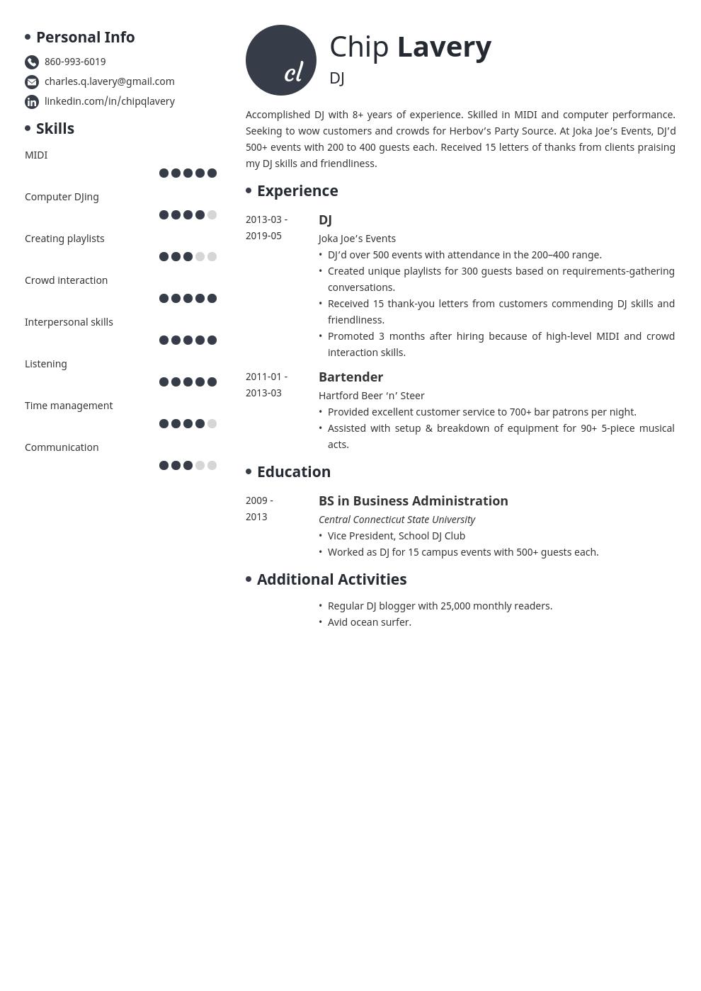 Dj Resume Example Template Initials Resume Examples Job Resume Examples Resume Layout