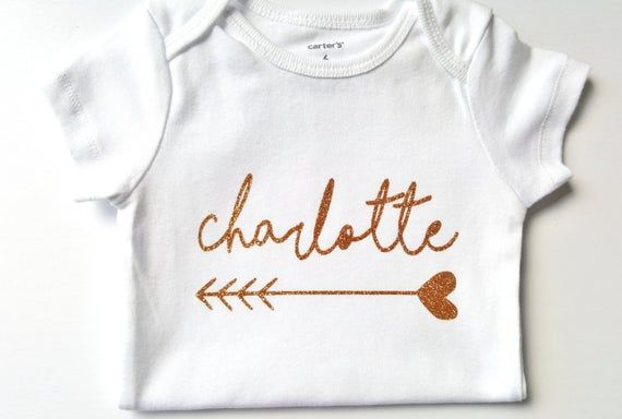 Photo of Gold Silver glitter shirt bodysuit, Personalized name bodysuit, First Birthday, Baby shower, cute ba