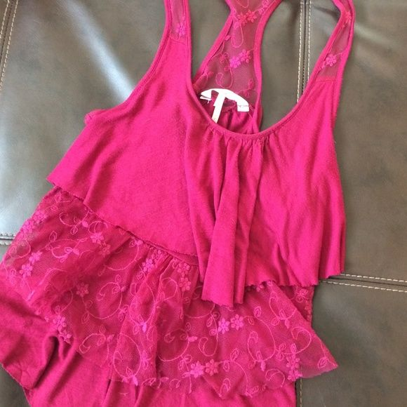 Fuchsia racer back tank Fun and girly addition to any outfit! Flowy layered detail with sheer lace. Light fabric. Gorgeous color. Kirra Tops Tank Tops
