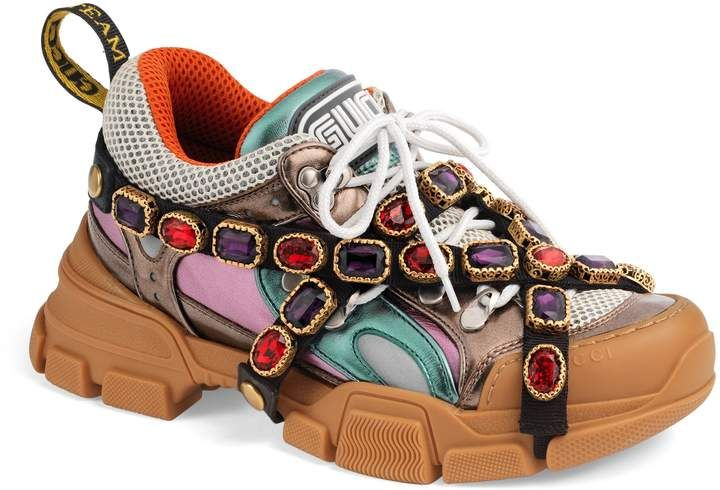785e6dd39a9d Gucci Flashtrek Jewel Embellished Sneaker  Sneakers