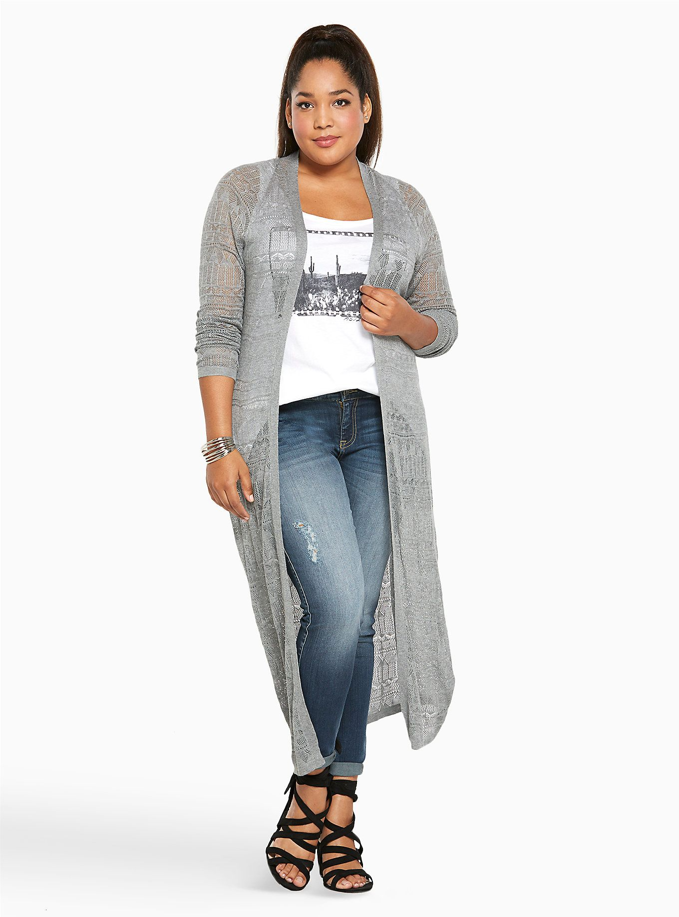 Pointelle Duster Cardigan | Dusters, Heather grey and Gray