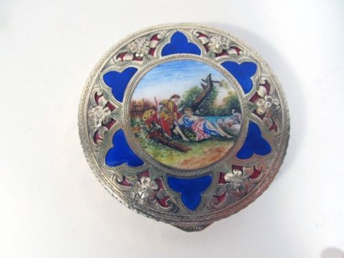 Exquisite Antique Continental 800 Silver & Enamel Hand Painted Scenic Compact