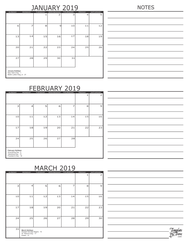 picture relating to 3 Month Printable Calendar titled 3 Thirty day period Calendar 2019 January February March 250+ Cost-free