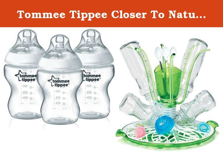 Tommee Tippee Closer To Nature Bottle 3 Pack with Sprout Drying Rack. With Closer to Nature Bottles, switching between breast and bottle feeding becomes easier than ever before. Closer to Nature's range of Bisphenol A free (BPA) baby bottles are designed to promote content and easy feeding times for parents and baby. We have designed the unique, easy-latch-on nipple shape with breastfeeding experts to mimic the natural flex, stretch and movement of mom's breast. Together with the bottle's...