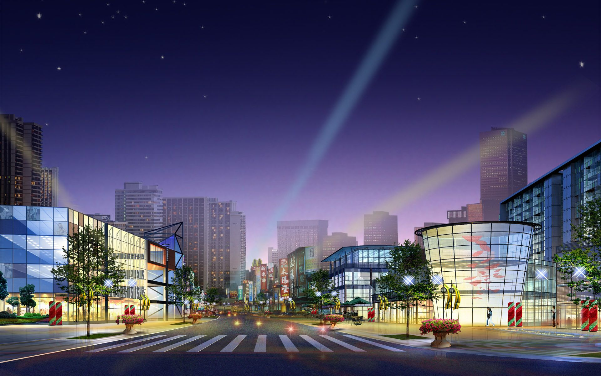 Hongkong City Night View With Blue Sky Background Cartoon High Definition Wallpapers