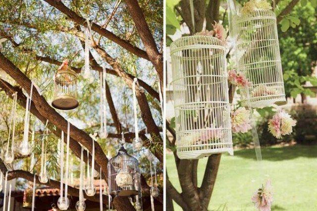 Vintage Garten vintage hochzeit im garten deko bäume vogelkäfige romantische