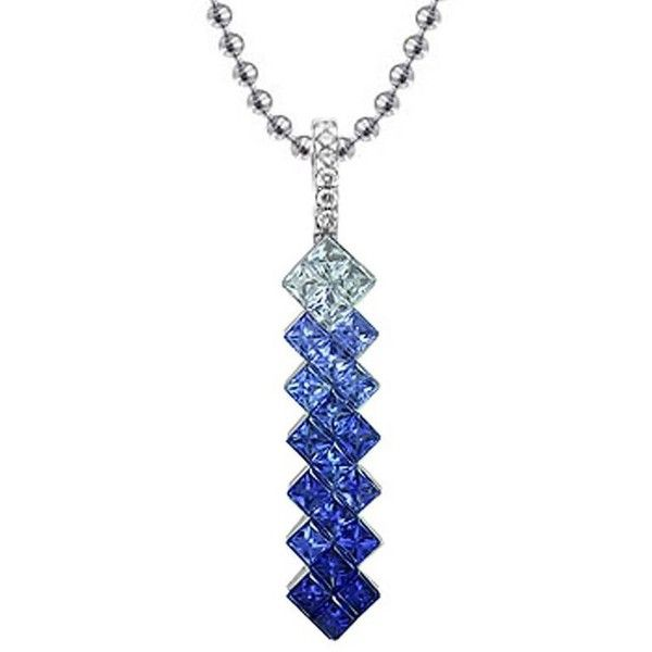 Preowned Blue Sapphire Diamond Drop Pendant Necklace 19 600 Dkk Liked On Polyvore Featuring Jewelry Necklaces Blue Drop Necklaces Blue Diamond Jewelry