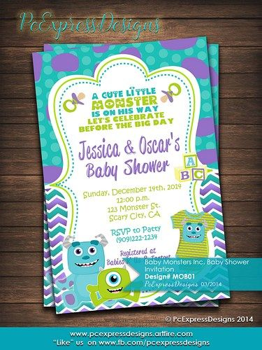 Monsters inc baby shower invitation photo center monsters and babies monsters inc baby shower invitation filmwisefo