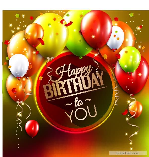 Free Birthday card with colored balloons vector 03 vector download - birthday greetings download free