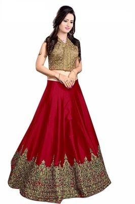 00dc99c789883f Red embroidered satin Crop top lehenga with dupatta at Mirraw.com