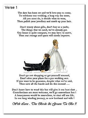 Wedding Cash Money Voucher Request Poems For Invites Funny Bride Pulling Groom Gift Poem