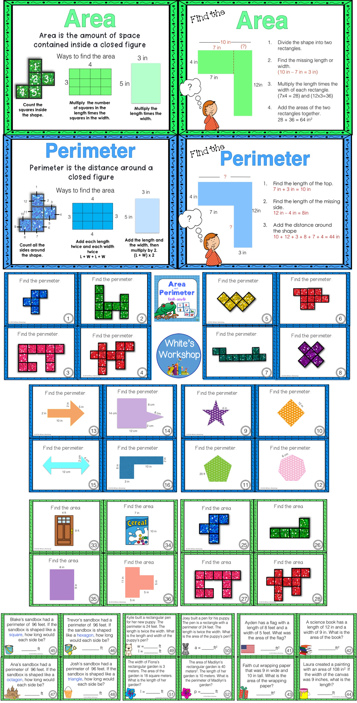 Area and perimeter task cards and anchor charts. | Things for Dillon ...