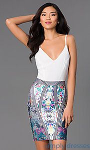 Buy Short Spaghetti Strap Dress with Print Skirt at SimplyDresses
