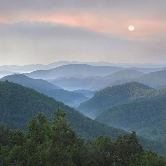 'Sunrise over Pisgah National Forest from Blue Ridge Parkway, North Carolina, Usa' Photographic Print - Tim Fitzharris | AllPosters.com