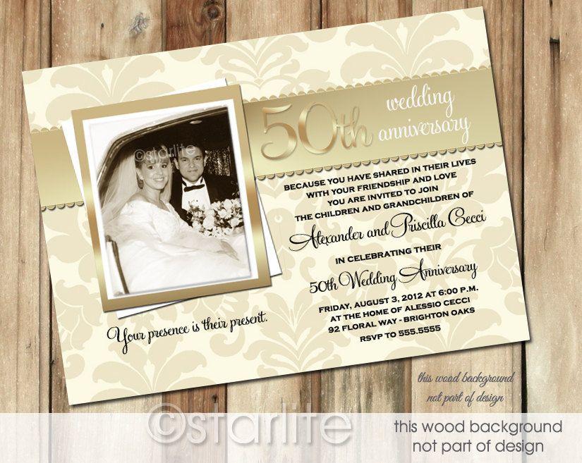 Golden 50 Anniversary photo invitation 50th wedding by starwedd ...