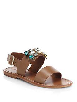 ad307fd4a Marni - Jeweled Leather Sandals