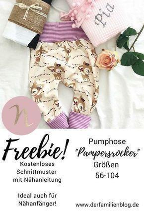 Freebie Pampersrocker Kostenloses Schnittmuster Baby Pumphose - DIY Nähanleitung - #babyblanket