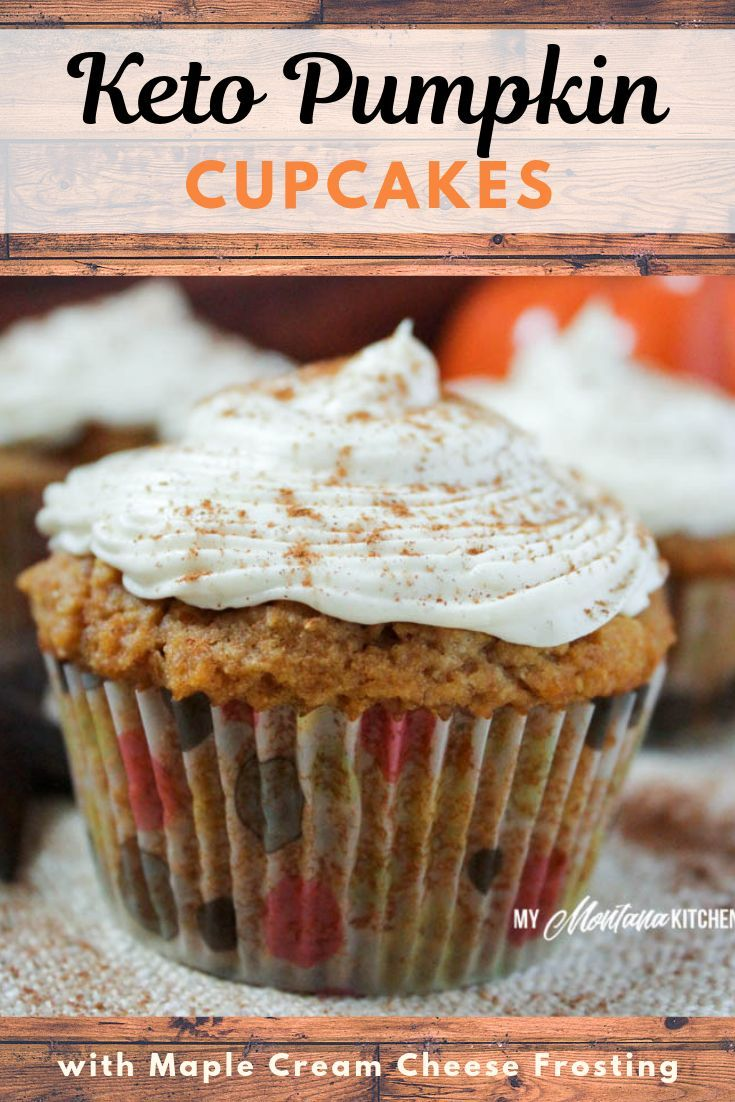 These Pumpkin Spice Cupcakes with Maple Cream Cheese Frosting make a perfect pumpkin spice dessert. These pumpkin cupcakes are also gluten free, and low carb! A perfect keto pumpkin dessert - and topped with a delicious maple cream cheese frosting. #trimhealthymama #thms #thm #pumpkinspice #maple #lowcarb #sugarfree #glutenfree #pumpkincupcake #cupcake #mymontanakitchen #pumpkinrecipe #healthypumpkinrecipe #ketopumpkin #pumpkinspicecupcakes