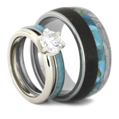 Turquoise Wedding Ring Set Diamond And Turquoise Bridal Set With