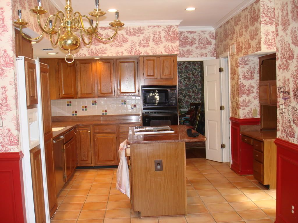 Red country kitchens - Country Dining Room Wallpaper
