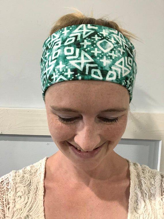 yoga headband, aztec yoga headband, aztec headband, wide headband, stretch headband, green yoga headband, sunshineandlace headband