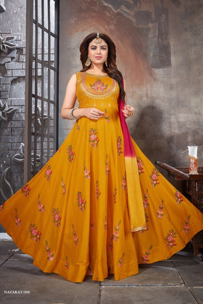 dark yellow cotton embroidery work anarkali suit with dupatta catalog no 10161 website https on hebbar s kitchen chicken biryani id=74667