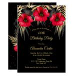 Exotic Red Black Gold Palms Floral Birthday party Invitation | Zazzle.com #tropicalbirthdayparty