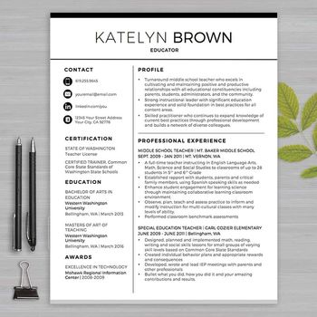 TEACHER RESUME Template For MS Word + Educator Resume Writing - substitute teacher resume example