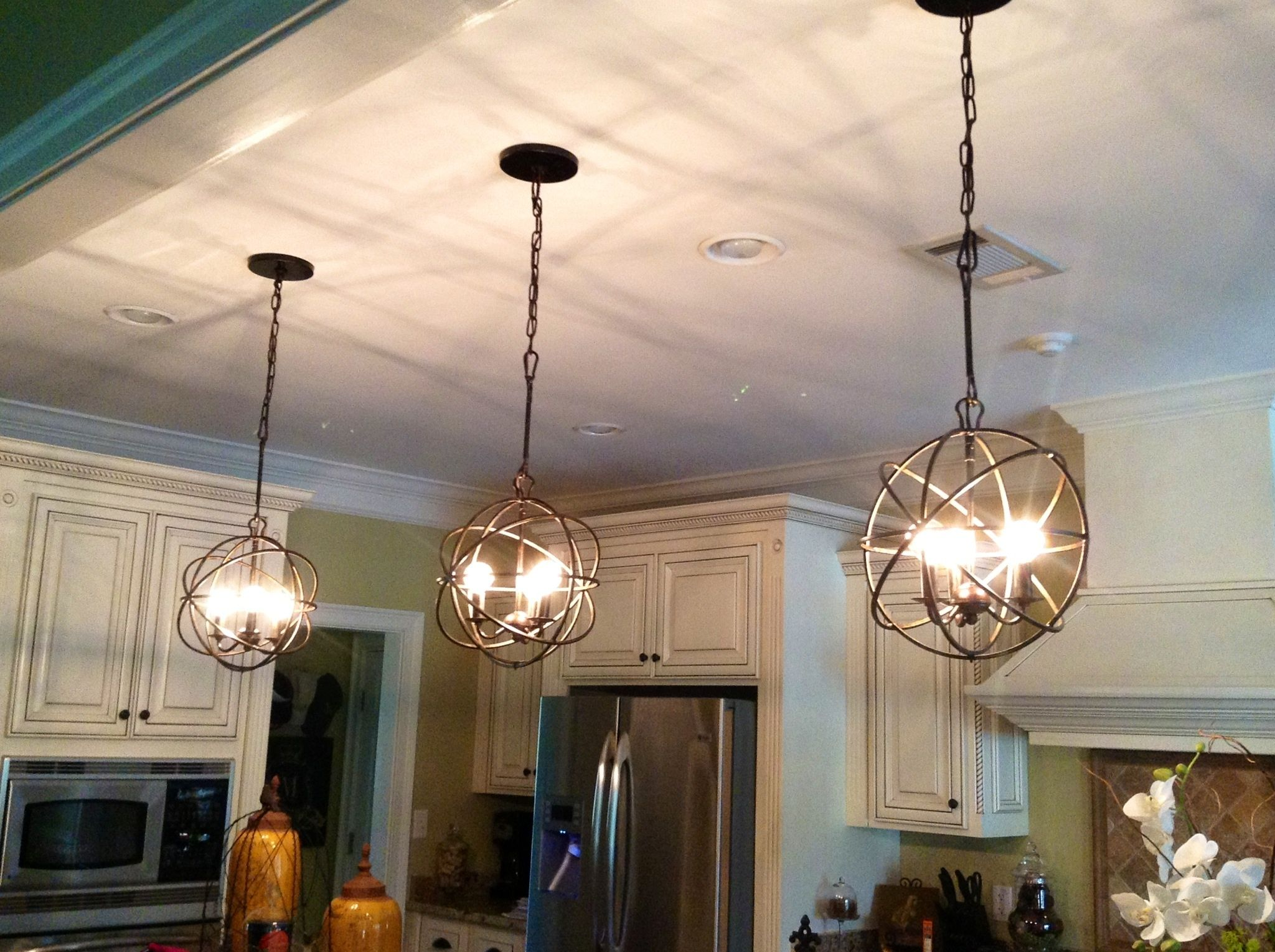 Kinds Of Orb Chandelier That You Can Choose: Marvelous Orb Chandelier With  White Kitchen Cabinetry Part 78