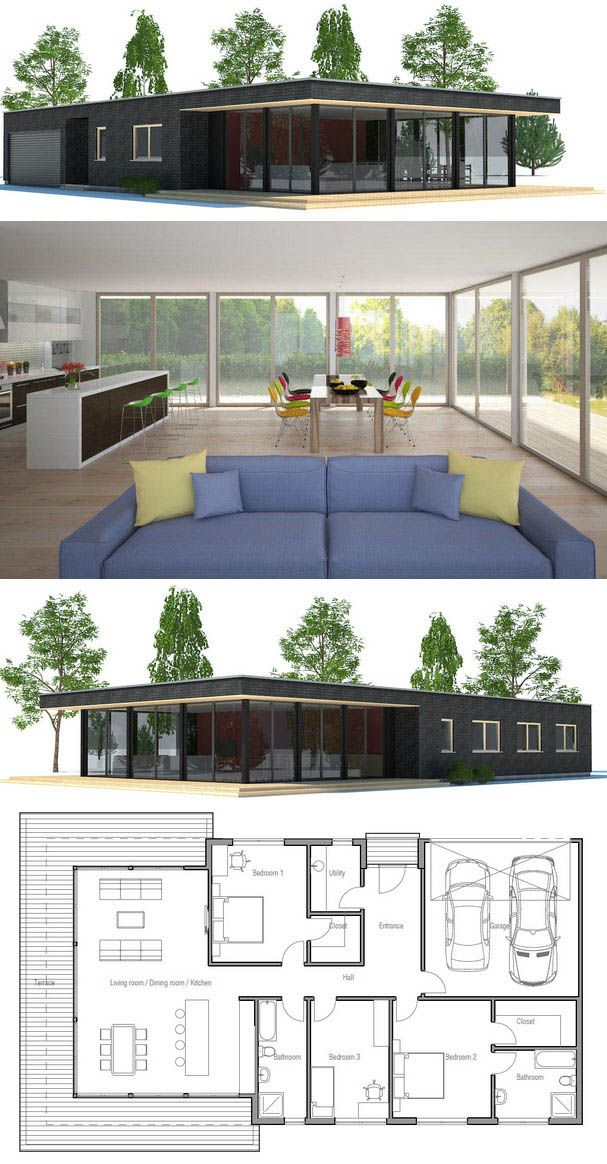 Simple functional open concept house plan with garage and - Simple container house plans ...