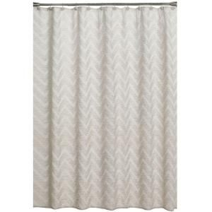Saturday Knight Chevron 70 In W X 72 L Fabric Shower Curtain Neutral