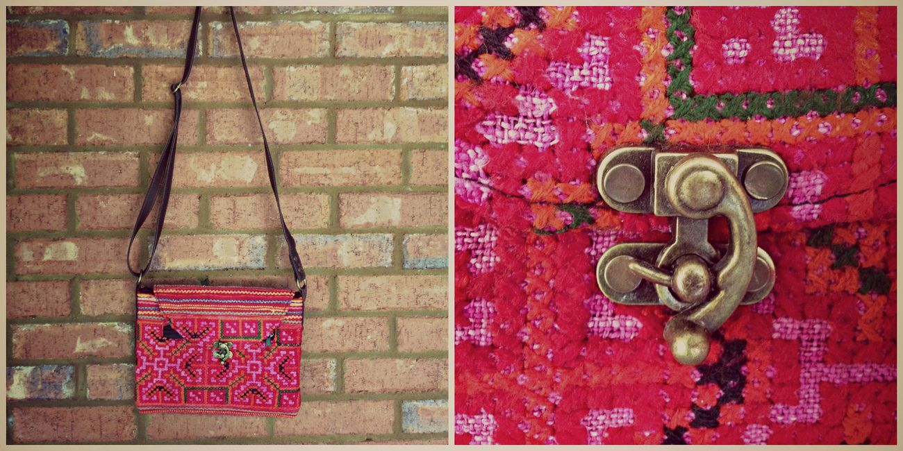 Handmade Cross Body Bag from Thailand with Clasp (Pink)