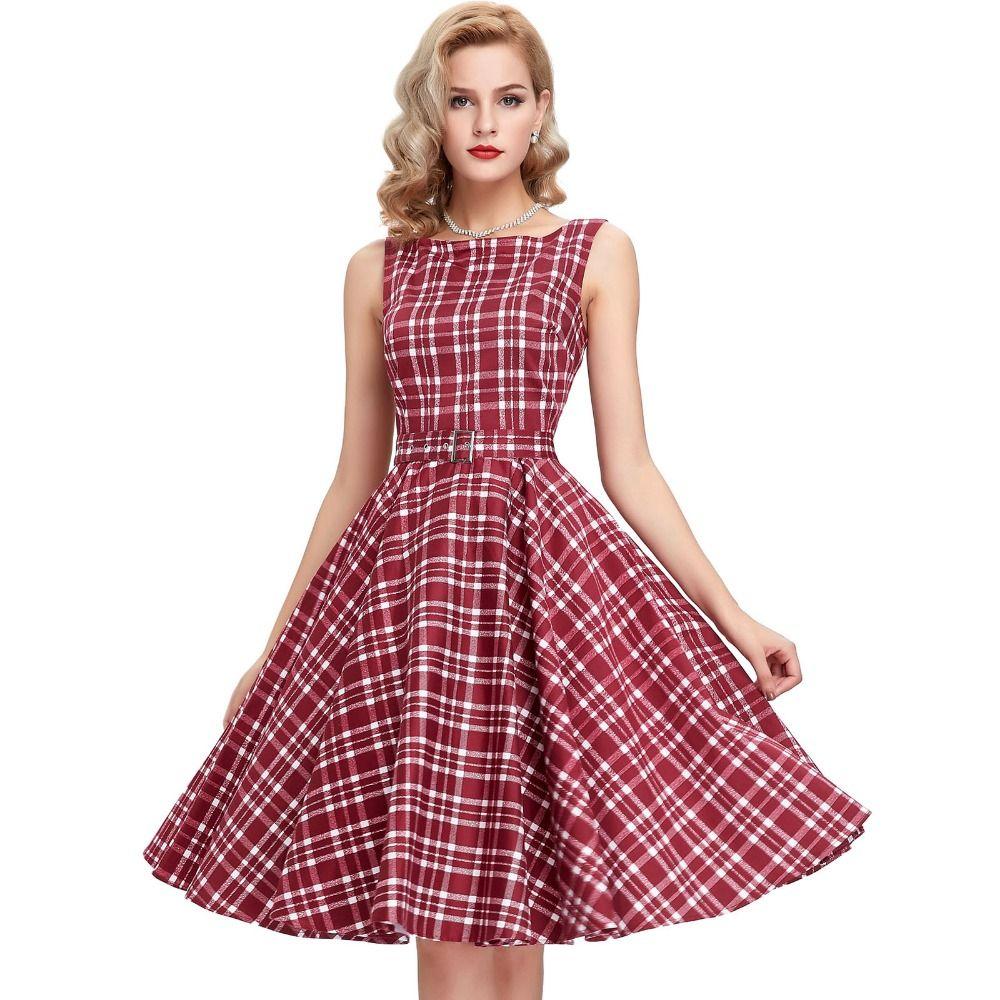 2016 Summer New Fashion Women Dresses Vintage 60s 50s Plaid ...