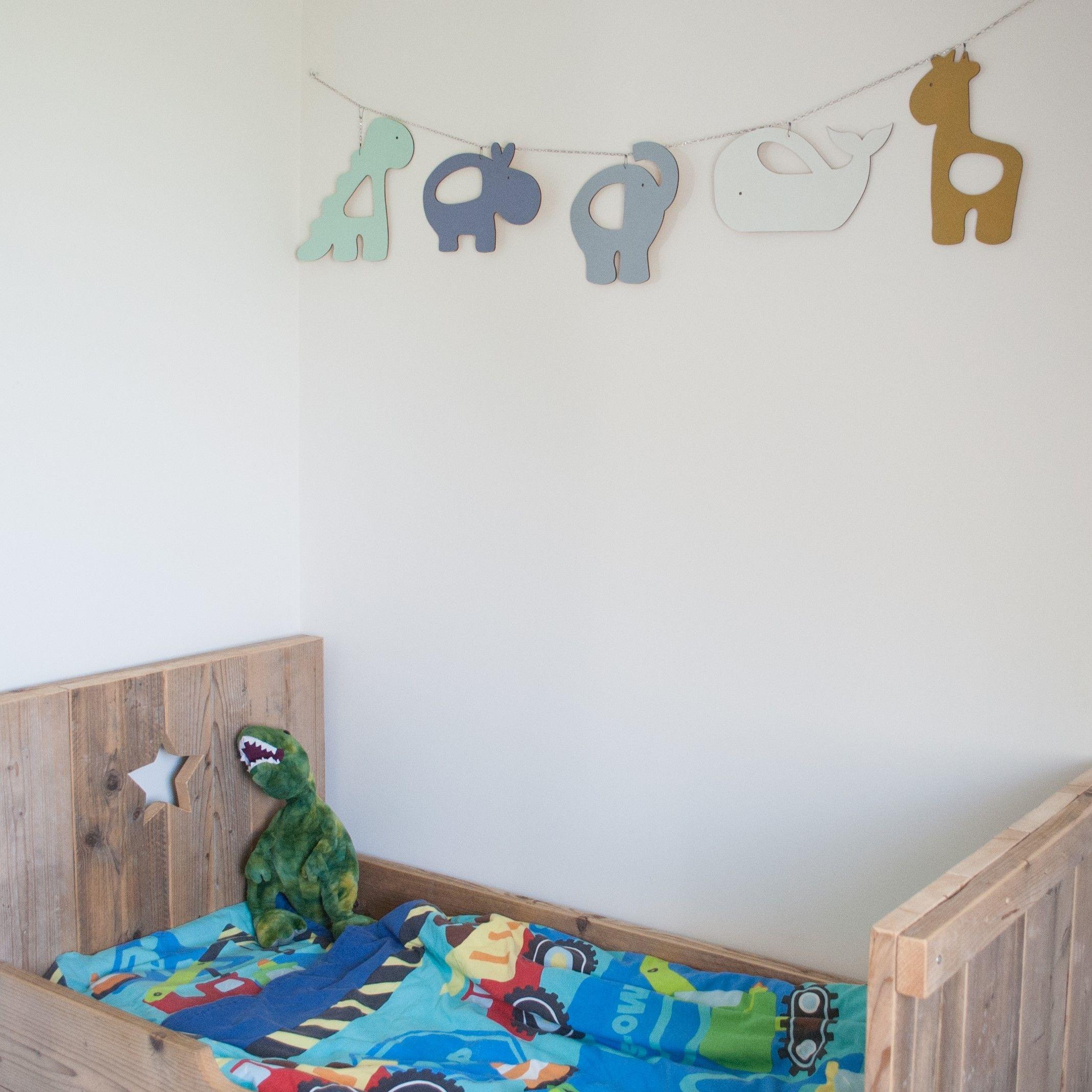 Muurdecoratie Hout Kinderkamer.Houten Slinger Wildlife Walvis Dino Giraffe Olifant En