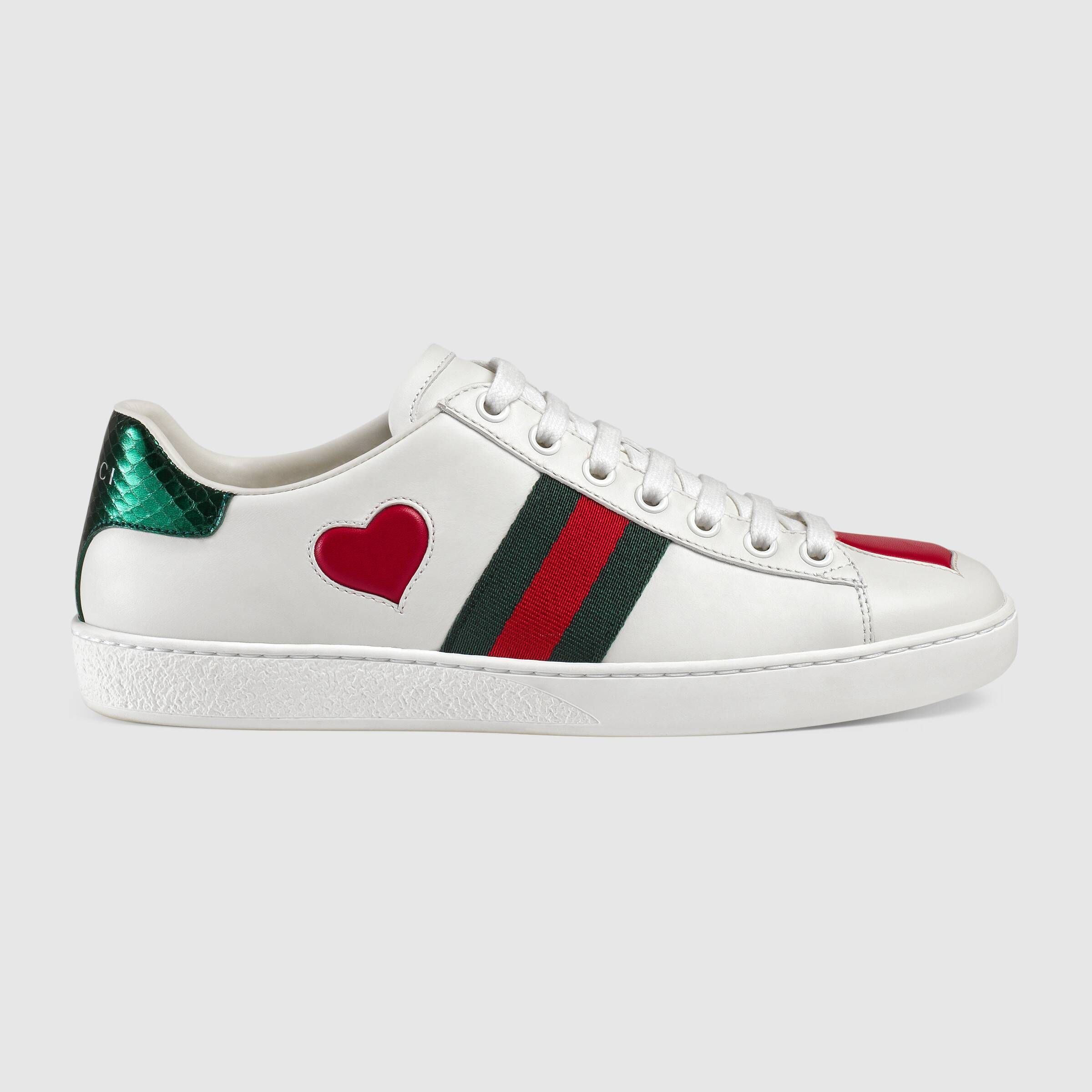 Gucci Ace Embroidered Sneaker Hearts 435638 A38m0 9074 Sneakers Gucci Sneakers Top Sneakers