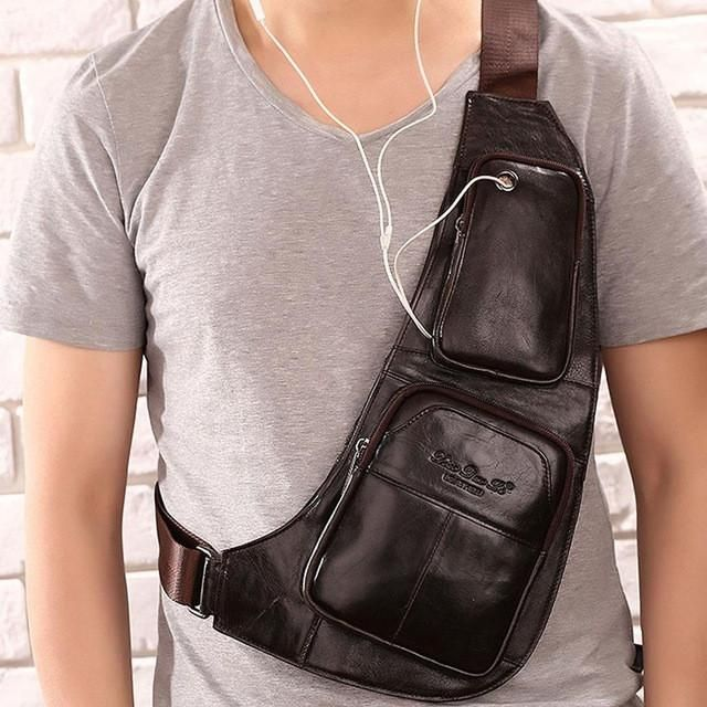 Men's Leather Rider Shoulder Chest Bag
