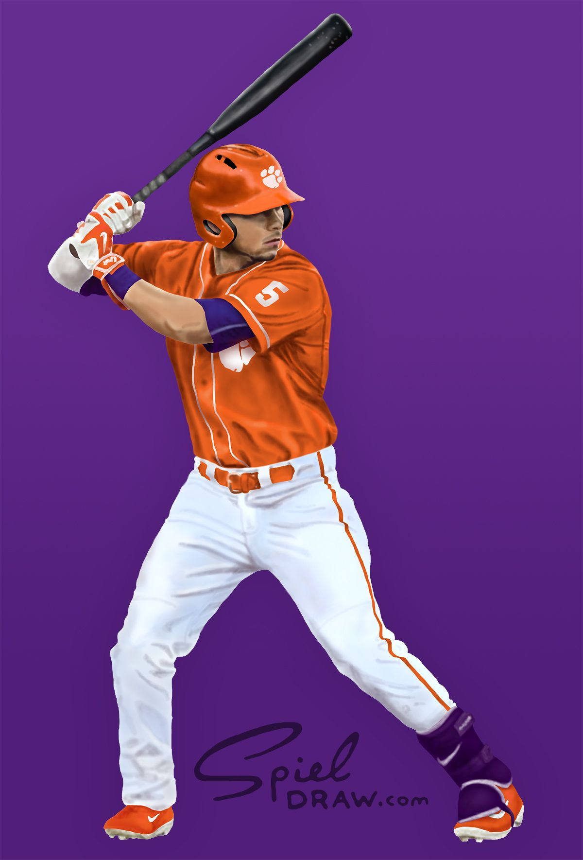 c6a5f4ae3 Digital painting of Clemson center fielder Chase Pinder. Created with  Procreate and Photoshop.