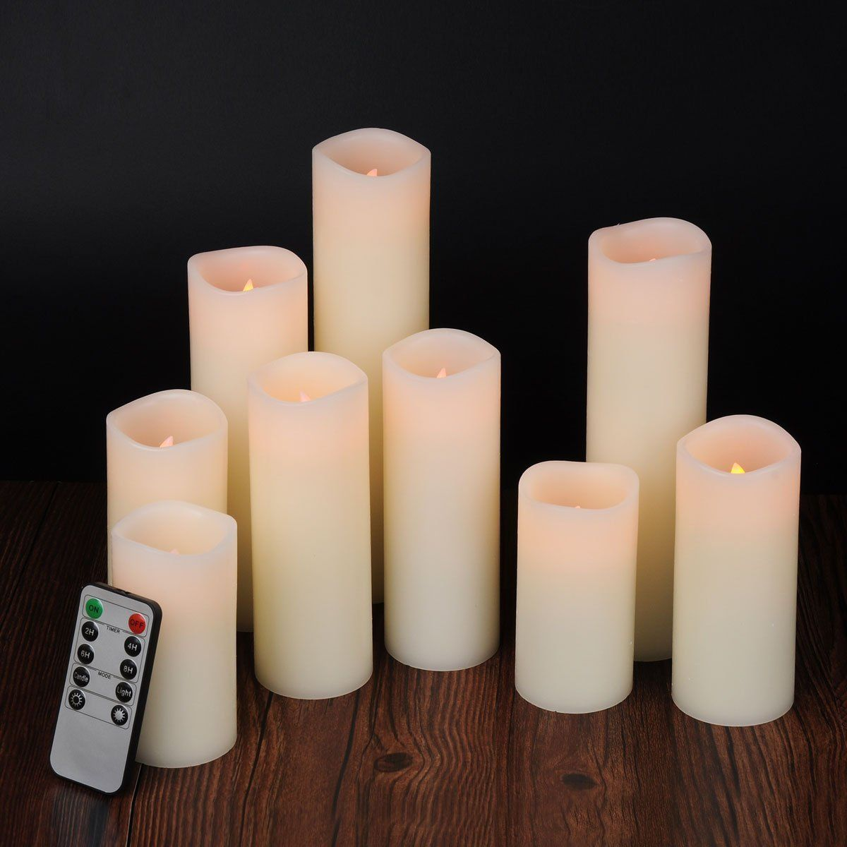 Amazon Com Ry King 4 5 6 7 8 9 Pillar Flickering Flameless Led Candles With 10 Key Remote Timer Set Of 9 Hom Flameless Led Candles Led Candles Candles
