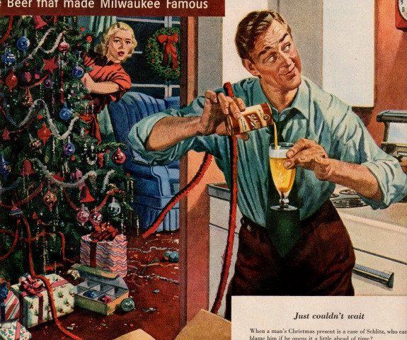 vintage christmas schlitz beer 1950 advertisement   1950s party ...