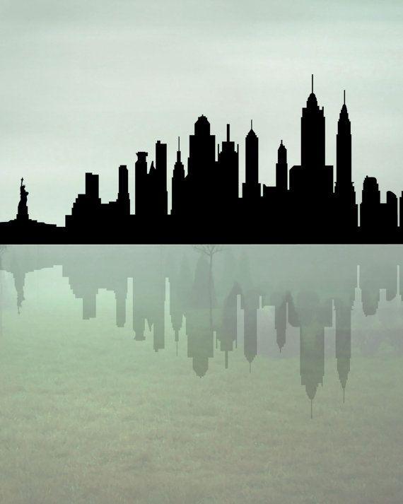 New York Skyline Printable Art New York Silhouette City Skyline Instant Download Skyline Art Skyline Painting Art