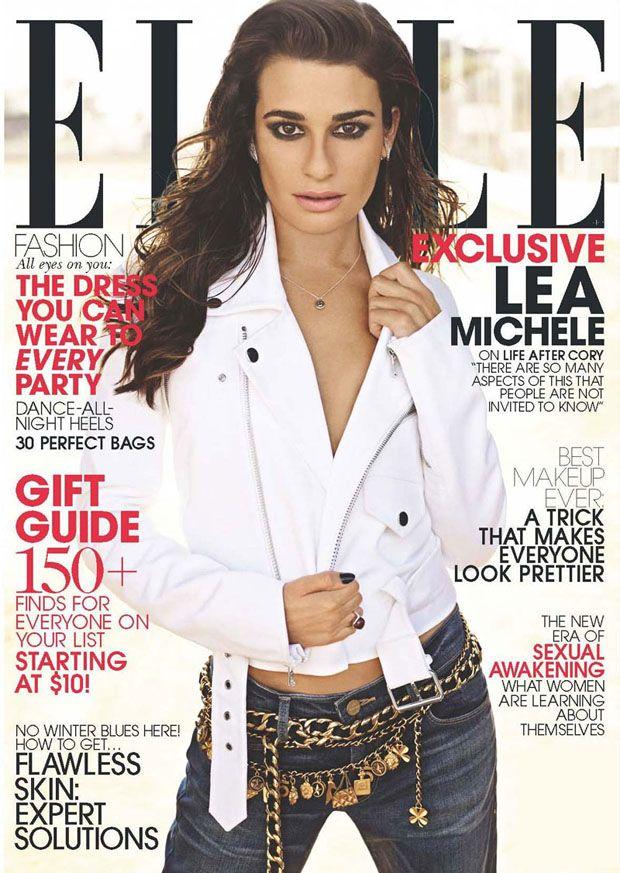 Lea Michele in Frame Denim jeans, Ralph Lauren jacket and vintage Chanel belts for ELLE.