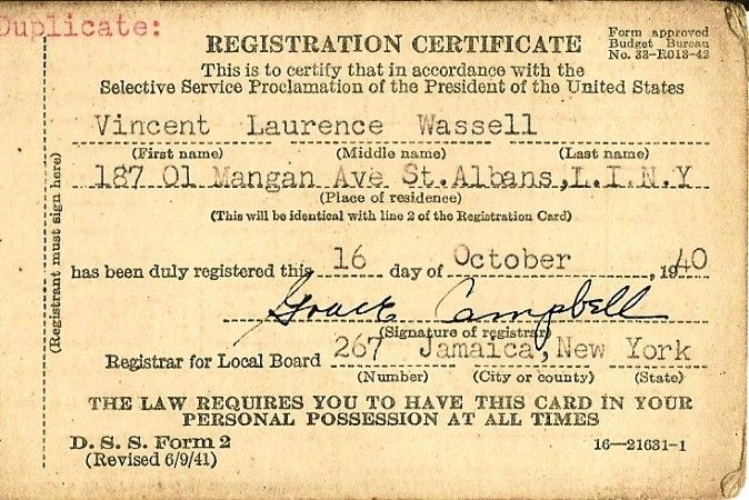 1940 Draft Card. On September 16, 1940, the United States
