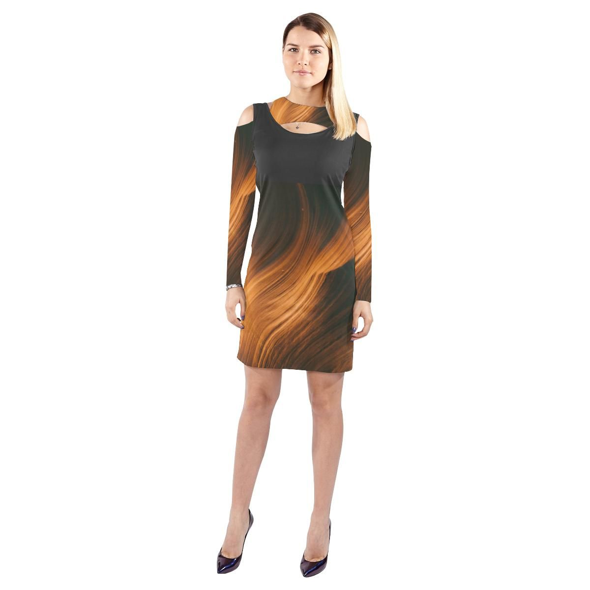 72307240dc Blonde Waves Halter Off Shoulder Long-Sleeve Dress in 2018