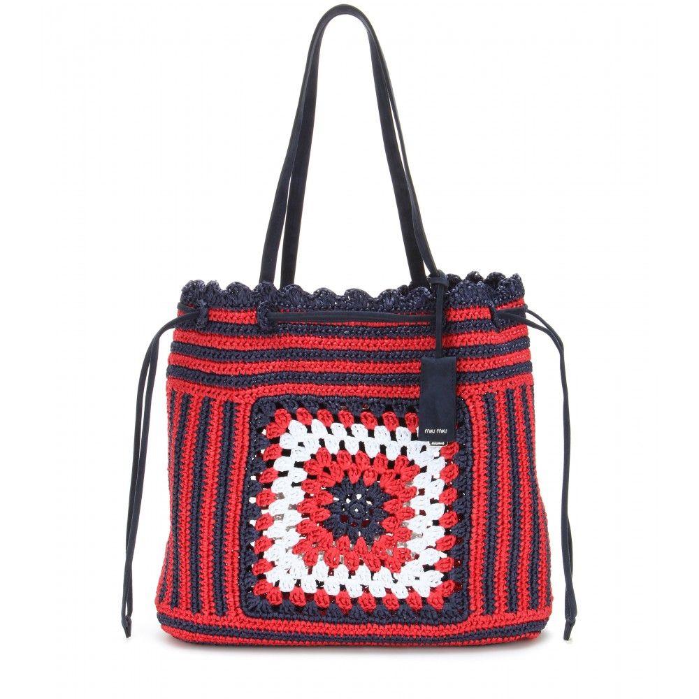 Miu Miu Borsa In Rafia Crochet Il Pattern Visto Sfilare In