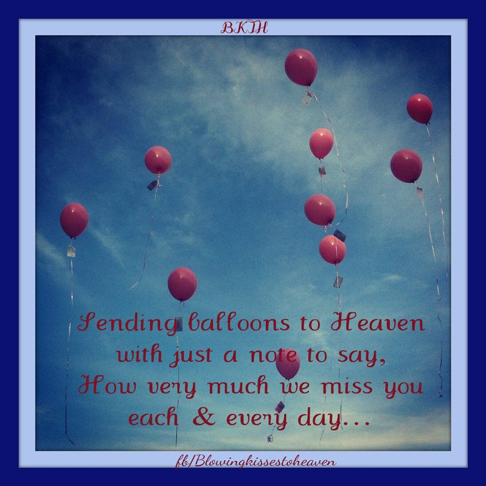 Sending Balloons To Heaven Filed With Love To My Angel Balloons To