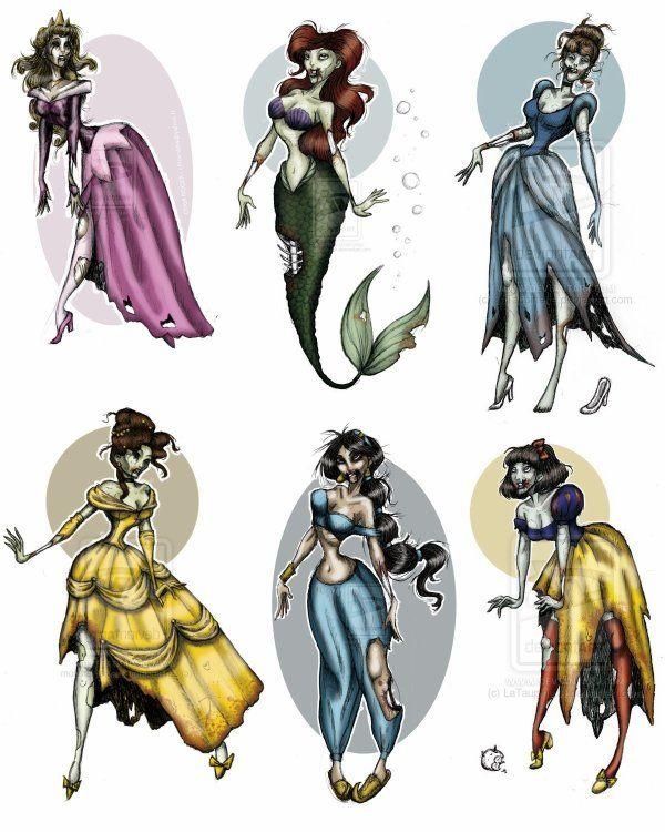 zombie disney princess tattoos!