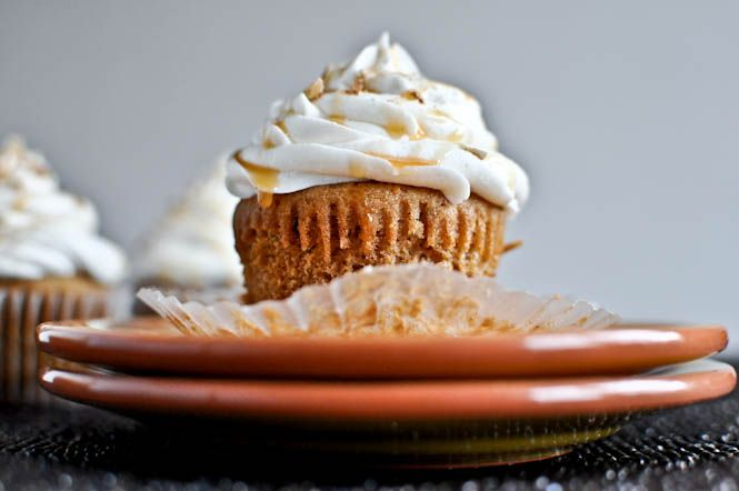 sweet potato pie cupcakes with marshmallow frosting. because i love my husband more than myself.