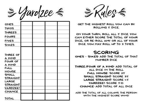 Fan image pertaining to free printable yardzee score card